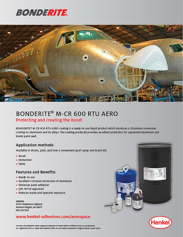 Bonderite M-CR 600 RTU AERO product highlight.