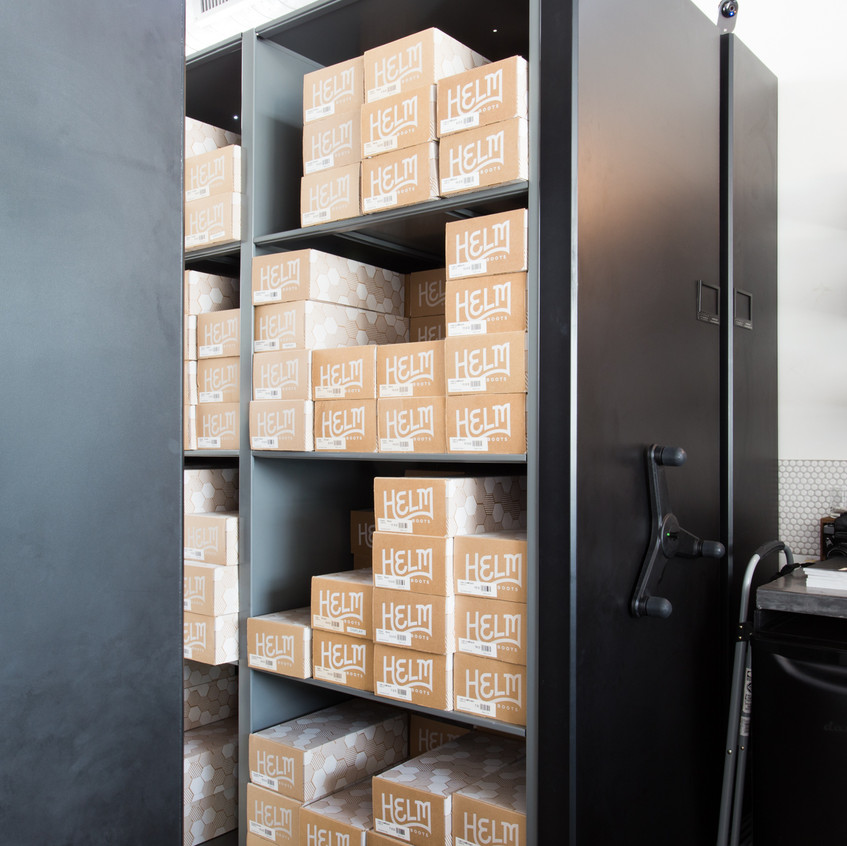 Spacesaver retail design at HELM boot store