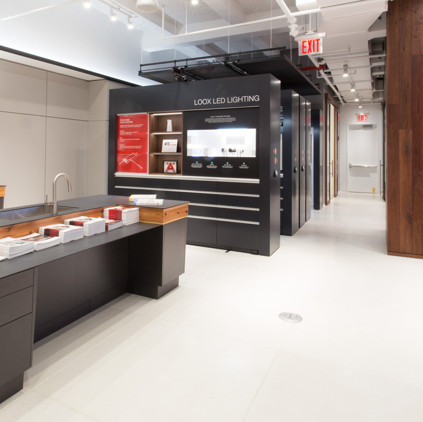 Hafele America Co showroom display is innovative with mobile shelving