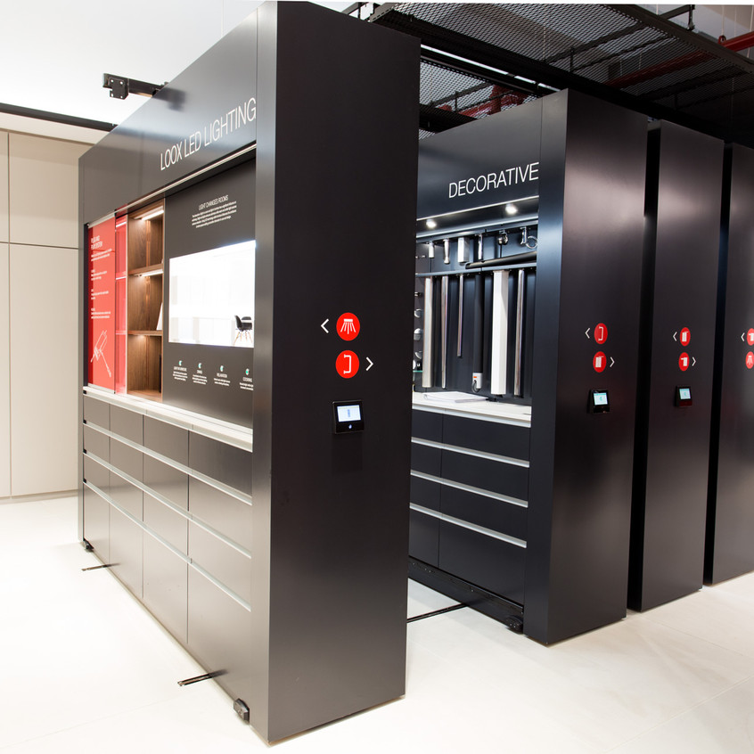 Showroom displays upscale residential and commercial hardware