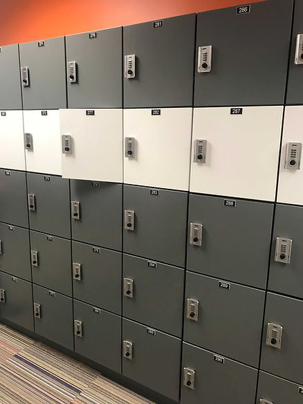 5-tier day use lockers with number tags.