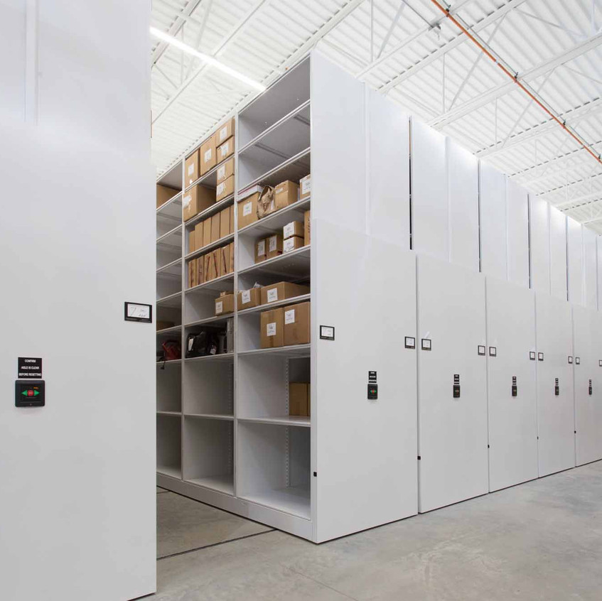Evidence boxes stored on powered mobile storage