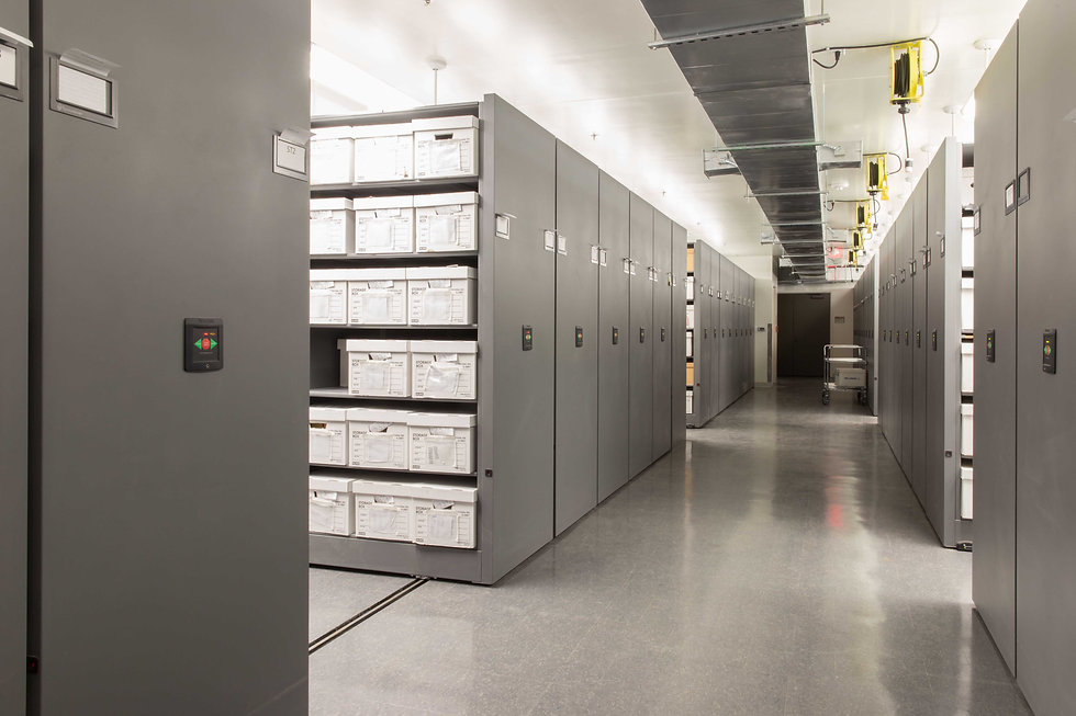 Archival storage at a teaching museum in