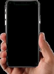 Main qui tient un téléphone ou est ouvert l'application Foodr