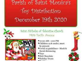 Parish of Saint Monica's Toy Distribution December 19th, 2020