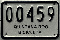 Bicycle licence plate in Cozumel.