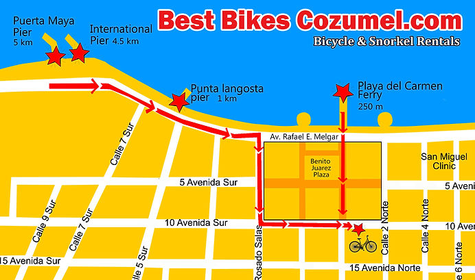 Puerta Maya, Iternational, Punta Langosta Cruise Ship Piers Map Cozumel.Cruise ship, Hotel bike rentals