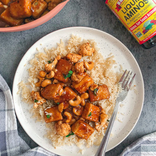 Sticky Orange Cashew Tofu + Coconut Rice