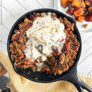 Vegan Pecan Peach Cobbler