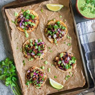 Vegan Chorizo Jicama Tacos with Creamy Jalapeño Cilantro Salsa