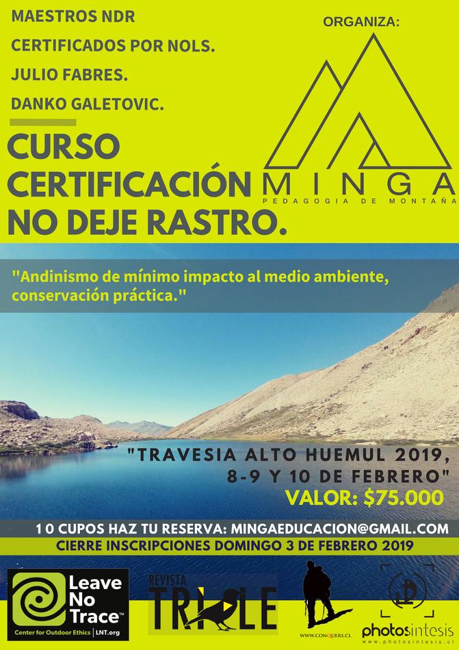"""11º Versión """"CURSO CERTIFICACIÓN NO DEJE RASTRO ALTO HUEMUL 2019."""""""