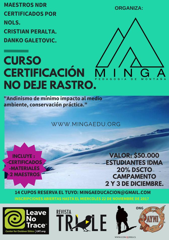 """Proximo """"Curso No Deje Rastro """" 2 y 3 de Diciembre 2017, Certifica NOLS PATAGONIA"""