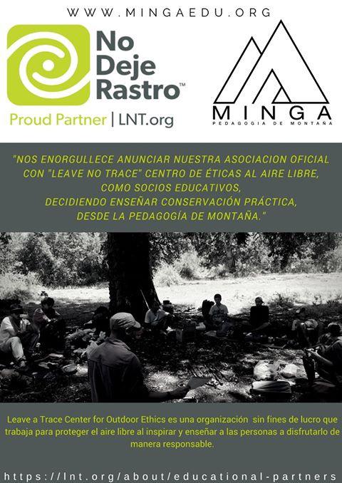"ONG MINGA, Pedagogía de Montaña, Proud Partner 2018 de ""Leave No Trace"""