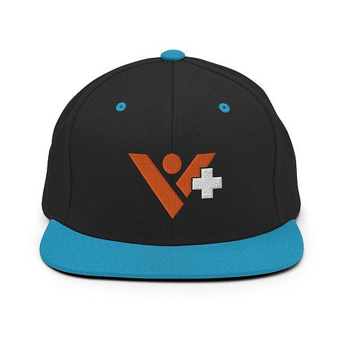 Snapback V+ Hat Orange & White Logo
