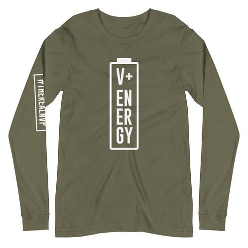 Unisex Long Sleeve Energy Tee / White Logo