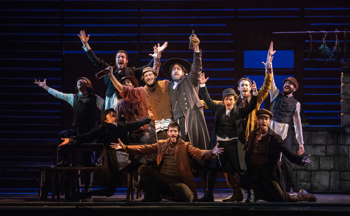 Yehezkel Lazarov, Jonathan Von Mering & the Cast of Fiddler on the Roof.