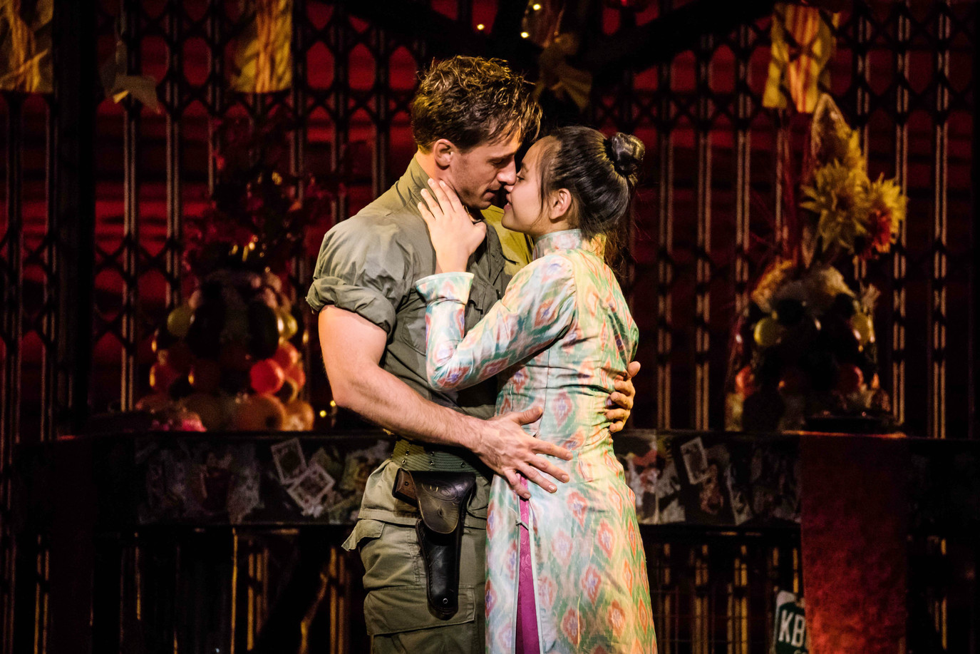 """Emily Bautista as 'Kim' and Anthony Festa as 'Chris' in the North American Tour of MISS SAIGON singing """"Last Night of the World"""""""