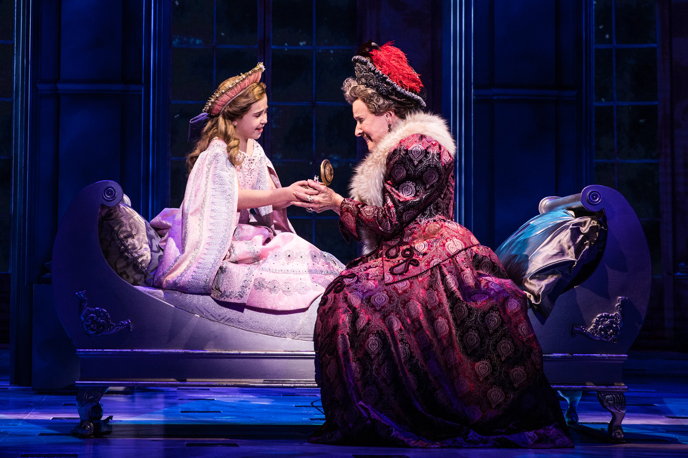 Victoria Bingham (Little Anastasia) and Joy Franz (Dowager Empress) in the National Tour of ANASTASIA.