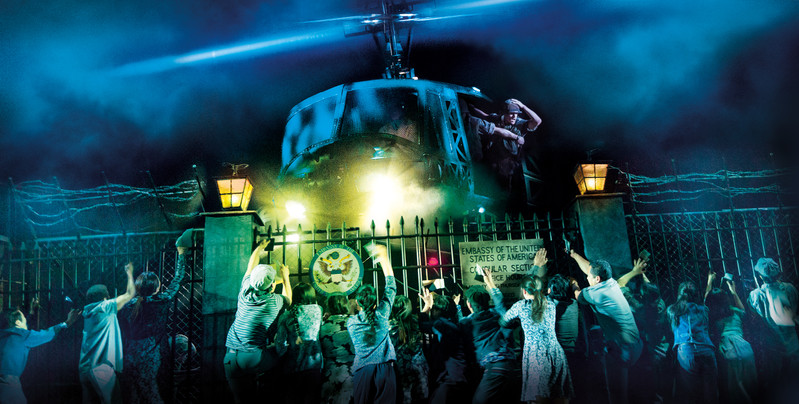 The helicopter lands in 'The Nightmare' in MISS SAIGON