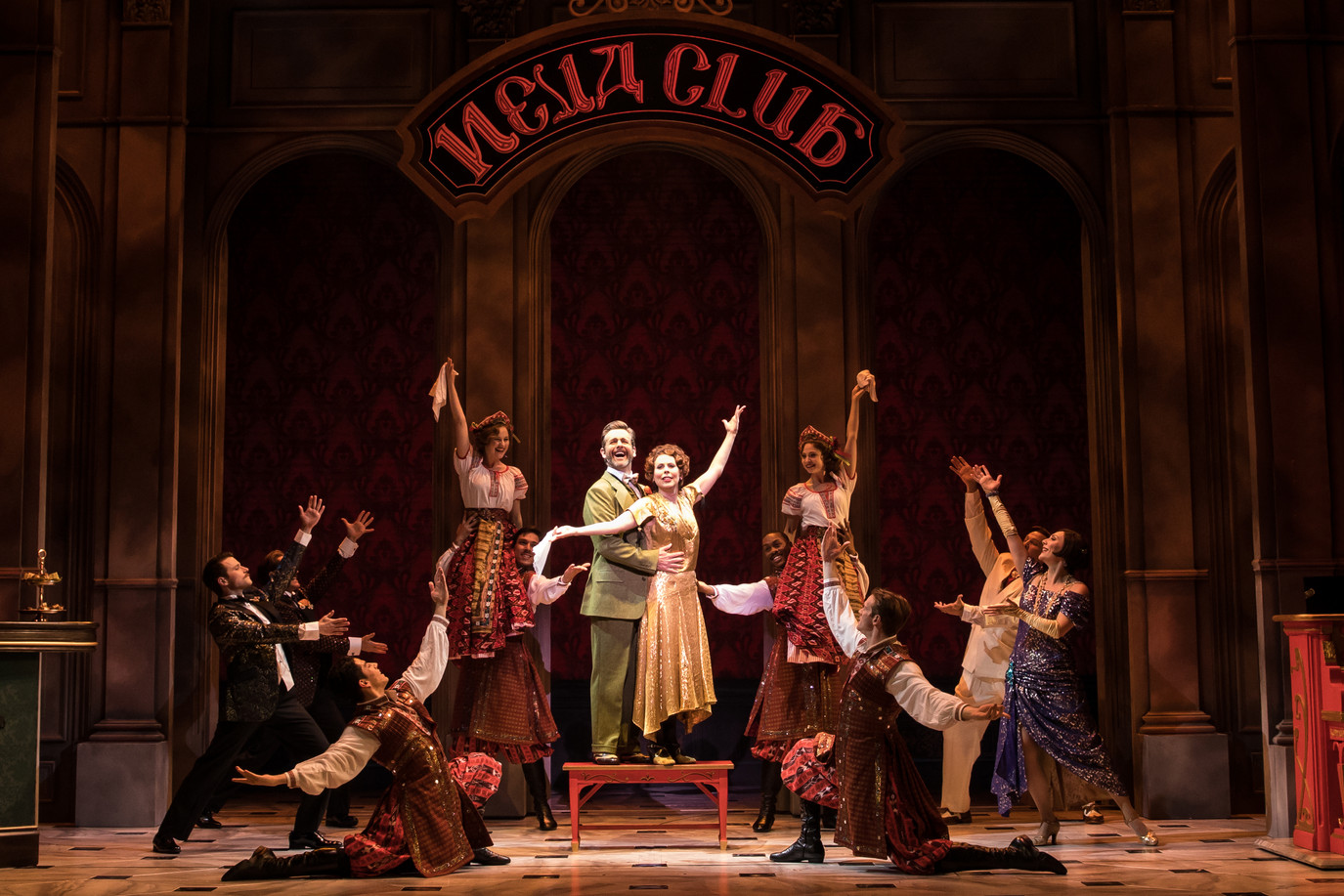 Edward Staudenmayer (Vlad), Tari Kelly (Countless Lily) and the company of the National Tour of ANASTASIA.