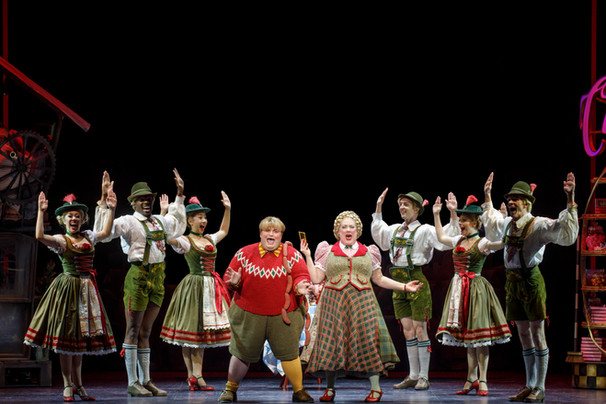 Matt Wood as Augustus Gloop, Kathy Fitzgerald as Mrs. Gloop, and company. Roald Dahl's CHARLIE AND THE CHOCOLATE FACTORY.