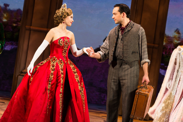Lila Coogan (Anya) and Stephen Brower (Dmitry) in the National Tour of ANASTASIA.
