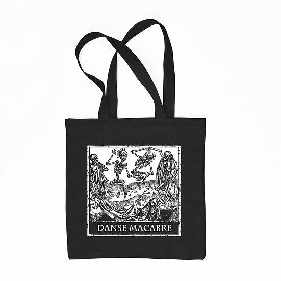 Danse Macabre black cotton tote bag