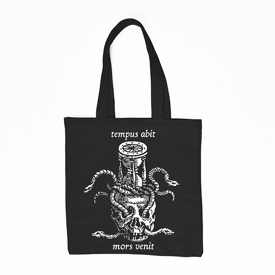 Black cotton tote bag Mors Venit