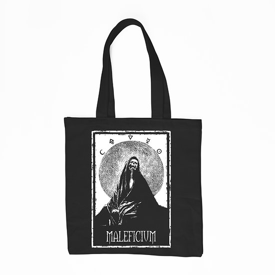 Maleficium black cotton tote bag