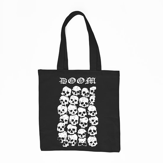 Doom black cotton tote bag