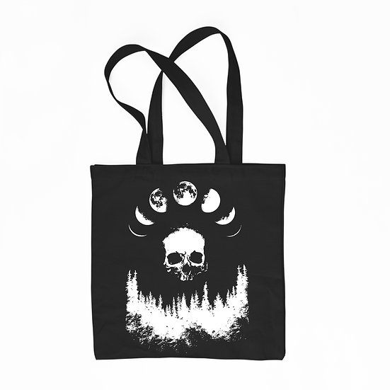 Moon black cotton tote bag