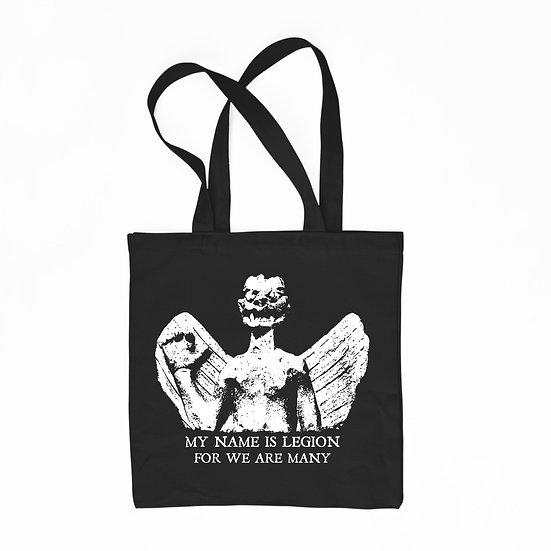 Demon Pazuzu black cotton tote bag