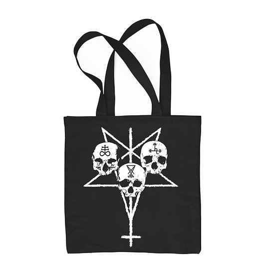 Unholy Trinity black cotton tote bag
