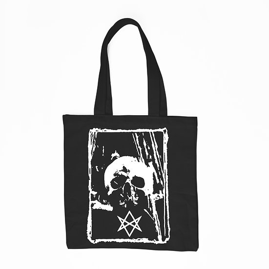 Hexagram black cotton tote bag