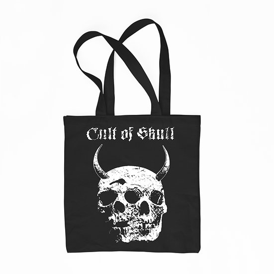 Skulls black cotton tote bag Twin Evil