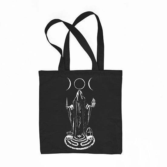 Witch Hekate black cotton tote bag