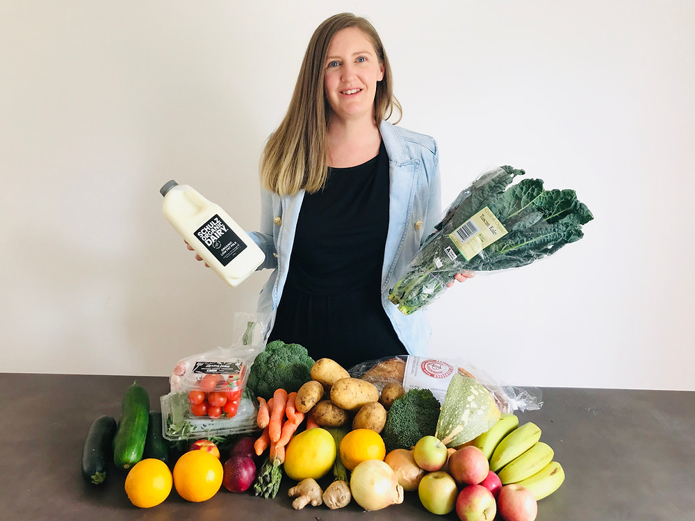 Holly from Motherhood Melbourne with a delivery from The Organic Place