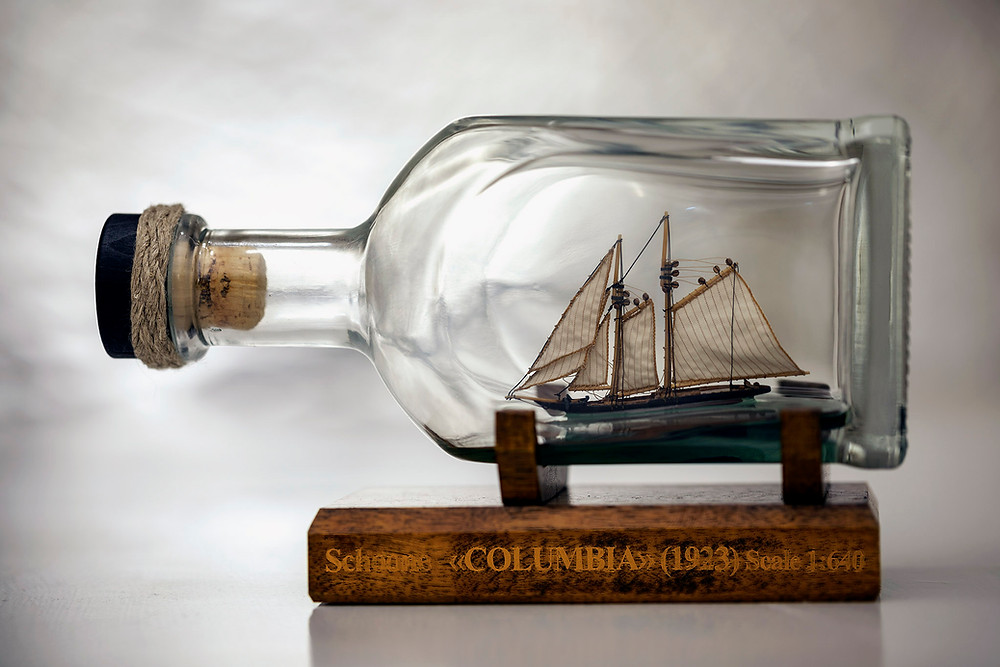 Schooner COLUMBIA (1923) in a bottle