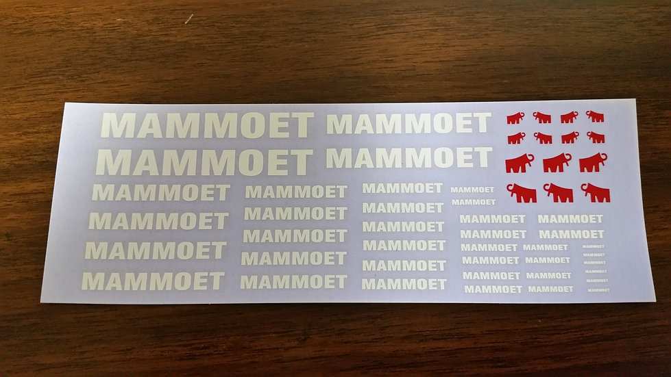 Mammoet decal. Various scales on one sheet.