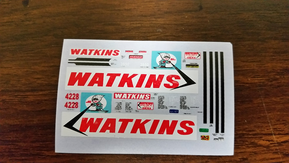 Watkins decal for tractor & trailer. 1/87th scale