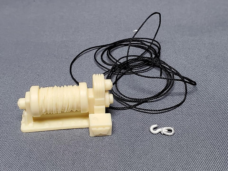 Kit Form Services #TQ53 - Single drum winch with cable and hook. 1/24th scale
