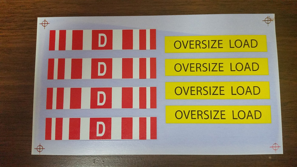 D Sign Oversized decal. 1/25th scale.