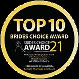 Celebrant Top 10 Brides Choice Award, Western Sydney