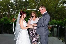 Wedding ceremony, Celebrant, Wedding rings, Bride, Groom, The Woodlands Harrington Grove, Wet Weather
