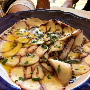 Octopus Carpaccio for lunch at Chez Blac