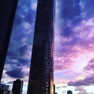 Purple skies over Melbourne after a stor