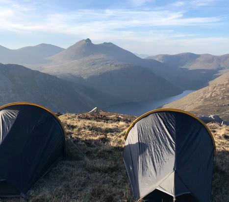 Tents looking over Ben Crom