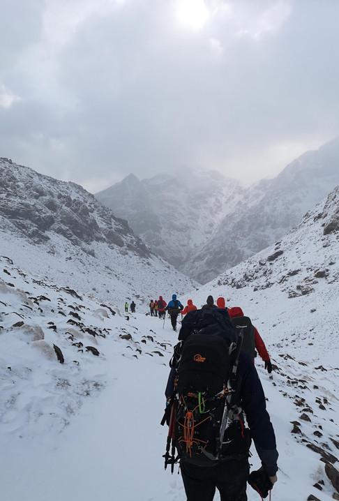 Descending from Toubkal Refuge
