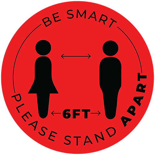 """Be Smart"" Distancing Reminder Stickers - Pack of 5"