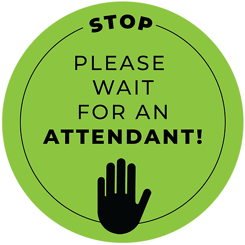 """Please Wait"" Distancing Reminder Stickers - Pack of 5"